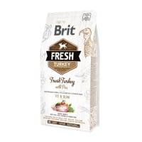 BRIT Fresh Fit & Slim Adult S-XL, Curcan cu Mazăre, hrană uscată conținut redus cereale câini, managemetul greutății, 2.5kg