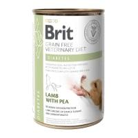 BRIT GF Veterinary Diet Diabetes, Miel cu Mazăre, dietă veterinară câini, conservă hrană umedă fără cereale, afecțiuni metabolice (diabet), 400g