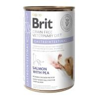 BRIT GF Veterinary Diet Gastrointestinal, Somon cu Mazăre, dietă veterinară câini, conservă hrană umedă fără cereale, afecțiuni digestive, 400g