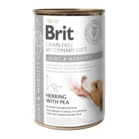 BRIT GF Veterinary Diet Joint & Mobility, Hering cu Mazăre, dietă veterinară câini, conservă hrană umedă fără cereale, afecțuni articulare, 400g