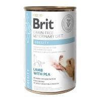 BRIT GF Veterinary Diet Obesity, Miel cu Mazăre, dietă veterinară câini, conservă hrană umedă fără cereale, afecțiuni metabolice (obezitate), 400g