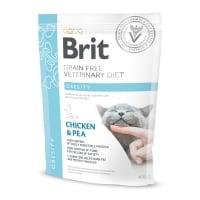 BRIT GF Veterinary Diet Obesity, Pui cu Mazăre, dietă veterinară pisici, hrană uscată fără cereale, afecțiuni metabolice (obezitate), 400g