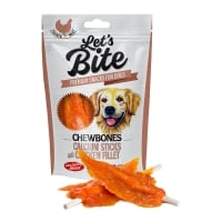 BRIT Let's Bite Chewbones Calcium Sticks with Chicken Fillet, Pui, recompense fără cereale câini, oase cu carne, 80g