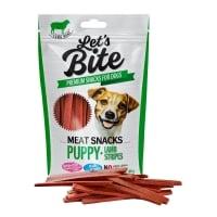 BRIT Let's Bite Snacks Puppy Lamb Stripes, Miel, recompense monoproteice fără cereale câini junior, fâșii de carne, 80g