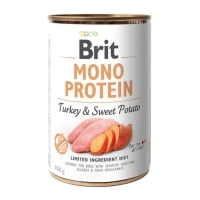 BRIT Mono Protein, Curcan cu Cartof dulce, conservă hrană umedă monoproteică fără cereale câini, (pate), 400g