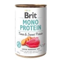 BRIT Mono Protein, Ton cu Cartof dulce, conservă hrană umedă monoproteică fără cereale câini, (pate), 400g