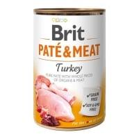 BRIT Pate & Meat, Curcan, conservă hrană umedă fără cereale câini, (pate cu bucăți de carne), 400g