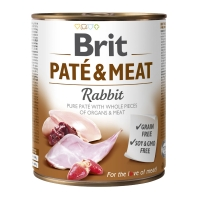 BRIT Pate & Meat, Iepure, conservă hrană umedă fără cereale câini, (pate cu bucăți de carne), 800g