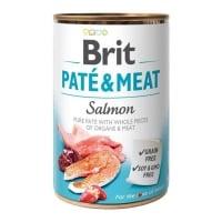 BRIT Pate & Meat, Somon, conservă hrană umedă fără cereale câini, (pate cu bucăți de carne), 400g