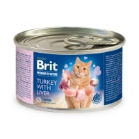 BRIT Premium By Nature, Curcan și Ficat, conservă hrană umedă fără cereale pisici, (pate), 200g