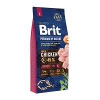 BRIT Premium By Nature Junior Large Breed, L, Pui, pachet economic hrană uscată câini junior, 15kg x 2