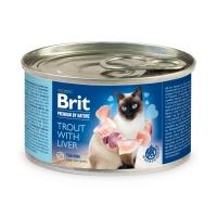BRIT Premium By Nature, Păstrăv și Ficat, conservă hrană umedă fără cereale pisici, (pate), 200g