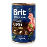 BRIT Premium By Nature, Porc și Trahee, pachet economic conservă hrană umedă fără cereale câini, (pate), 400g x 6