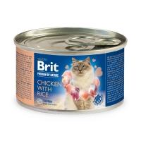 BRIT Premium By Nature, Pui cu Orez, conservă hrană umedă monoproteică conținut redus cereale pisici, (pate), 200g