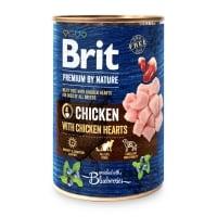 BRIT Premium By Nature, Pui și Inimi, conservă hrană umedă fără cereale câini, (pate), 400g