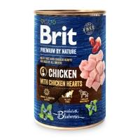 BRIT Premium By Nature, Pui și Inimi, pachet economic conservă hrană umedă fără cereale câini, (pate), 400g x 6