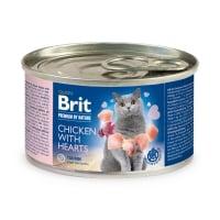BRIT Premium By Nature, Pui și Inimi, conservă hrană umedă monoproteică fără cereale pisici, (pate), 200g