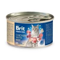 BRIT Premium By Nature, Pui și Vită, conservă hrană umedă fără cereale pisici, (pate), 200g