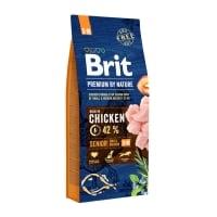BRIT Premium By Nature Senior Small and Medium Breed, S-M, Pui, hrană uscată câini senior, 15kg