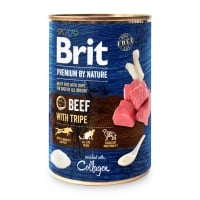 BRIT Premium By Nature, Vită și Burtă, conservă hrană umedă fără cereale câini, (pate), 400g