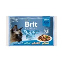 BRIT Premium Multipack Dinner Plate, 4 arome, pachet mixt, plic hrană umedă pisici, (în sos), 85g x 4