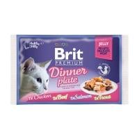 BRIT Premium Multipack Dinner Plate, 4 arome, pachet mixt, plic hrană umedă pisici, (în aspic), 85g x 4