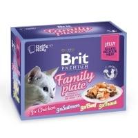 BRIT Premium Multipack Family Plate, 4 arome, pachet mixt, plic hrană umedă pisici, (în aspic), 85g x 12