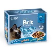 BRIT Premium Multipack Family Plate, 4 arome, pachet mixt, plic hrană umedă pisici, (în sos), 85g x 12