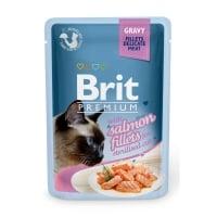 BRIT Premium Sterilised, File Somon, plic hrană umedă pisici sterilizate, 85g