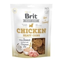 BRIT Jerky Chicken with Insect Meaty Coins, recompense câini, Rondele carne Pui cu Insecte, 200g