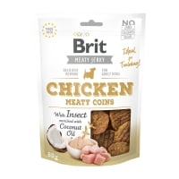BRIT Jerky Chicken with Insect Meaty Coins, recompense câini, Rondele carne Pui cu Insecte, 80g