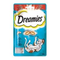 DREAMIES, recompense pisici, pernuțe umplute cu somon, 60g