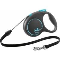 FLEXI Black Design M, lesă retractabilă câini, 20kg, șnur, 5m, albastru
