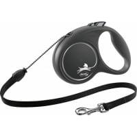 FLEXI Black Design M, lesă retractabilă câini, 20kg, șnur, 5m, negru