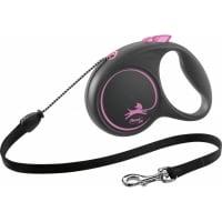 FLEXI Black Design M, lesă retractabilă câini, 20kg, șnur, 5m, roz