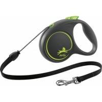 FLEXI Black Design M, lesă retractabilă câini, 20kg, șnur, 5m, verde