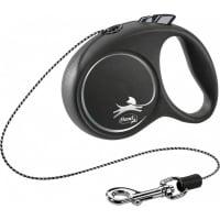 FLEXI Black Design XS, lesă retractabilă câini, 8kg, șnur, 3m, negru