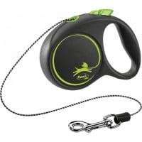 FLEXI Black Design XS, lesă retractabilă câini, 8kg, șnur, 3m, verde