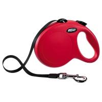 FLEXI Classic L Cord, lesă retractabilă câini, 50kg, bandă, 5m, roșu