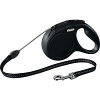 FLEXI Classic M, lesă retractabilă câini, 20kg, șnur, 5m, negru