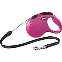 FLEXI Classic M, lesă retractabilă câini, 20kg, șnur, 5m, roz