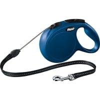 FLEXI Classic M, lesă retractabilă câini, 20kg, șnur, 8m, albastru