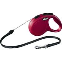 FLEXI Classic S, lesă retractabilă câini, 12kg, șnur, 5m, roșu