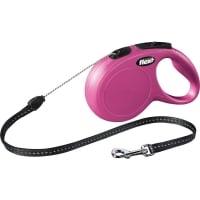 FLEXI Classic S, lesă retractabilă câini, 12kg, șnur, 8m, roz