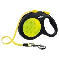 FLEXI Neon L, lesă retractabilă câini, 50kg, bandă, 5m, neon