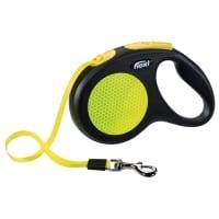 FLEXI Neon M, lesă retractabilă câini, 20kg, bandă, 5m, neon