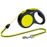 FLEXI Neon M, lesă retractabilă câini, 20kg, șnur, 5m, neon