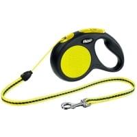 FLEXI Neon S, lesă retractabilă câini, 12kg, șnur, 5m, neon