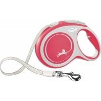 FLEXI New Comfort L, lesă retractabilă câini, 50kg, bandă, 8m, roșu