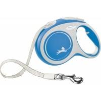 FLEXI New Comfort L, lesă retractabilă câini, 60kg, bandă, 5m, albastru